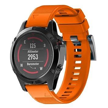 Correa de reloj inteligente Wawer Garmin Fenix 5X GPS, 26 mm de ancho, de instalación rápida, naranja: Amazon.es: Deportes y aire libre