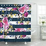 Pink Green Stripe Shower Curtain TOMPOP Shower Curtain Watercolor Pink Rose and Navy Stripes Peonies Bouquets Pattern Waterproof Polyester Fabric 72 x 72 Inches Set with Hooks