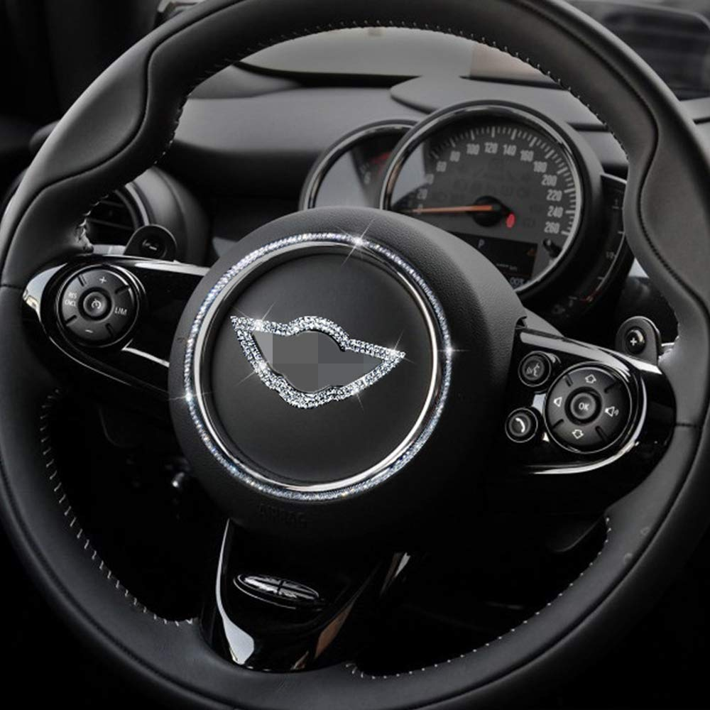 Steering Wheel Center Emblem Badge Cover Trim for Mini Countryman Clubman R50 R53 R55 R56 R60 R61 F55 F56 F54 F60 etc Crystal Diamond Decorative Sticke Bling Mini Emblem