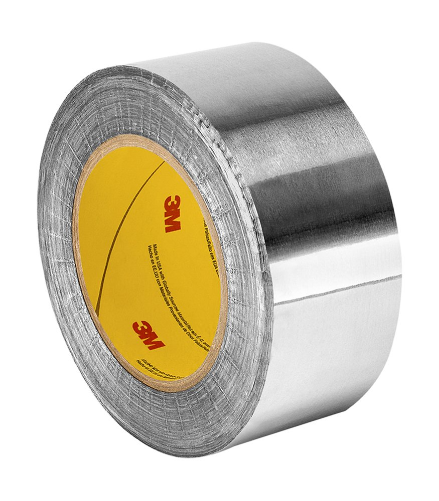 3M 1120 Silver Aluminum Foil Tape with Conductive Acrylic Adhesive, 36 yd length, 2.5'' width, Roll