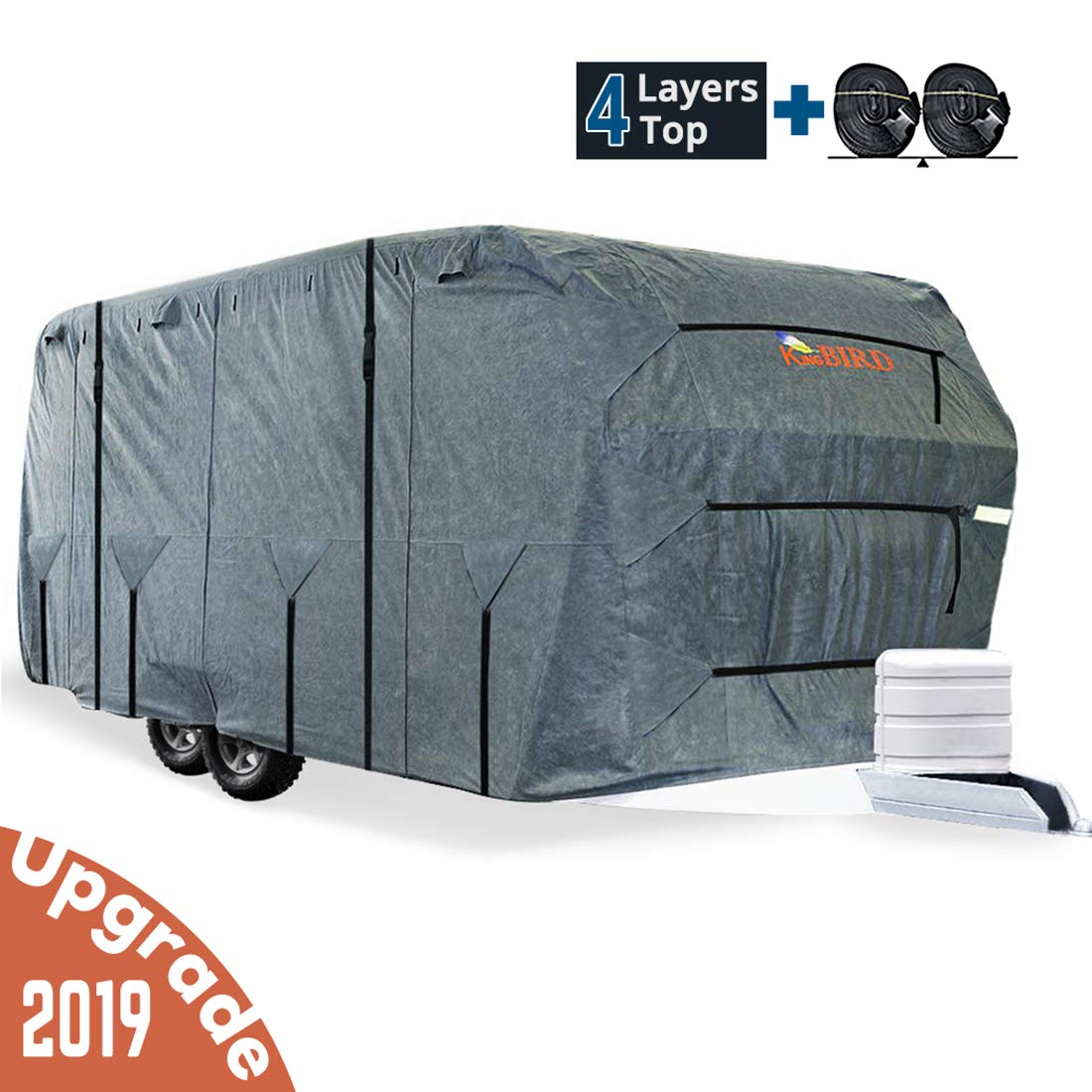 KING BIRD Extra-Thick 4-Ply Top Panel & Extra 2Pcs Reinforced Straps, Deluxe Camper Travel Trailer Cover, Fits 27'- 30' RV Cover -Breathable Water-Repellent Anti-UV with Storage Bag&Tire Covers by KING BIRD