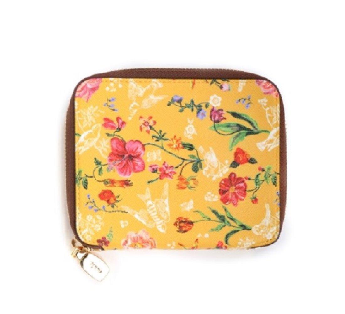 Nathalie Lete Luxuries Leather Zip Around Medium Wallet with Gift Box (My garden yellow)