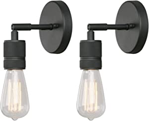 Phansthy Single Sconce Light Matte Black Simple Industrial Wall Sconces Set of Two