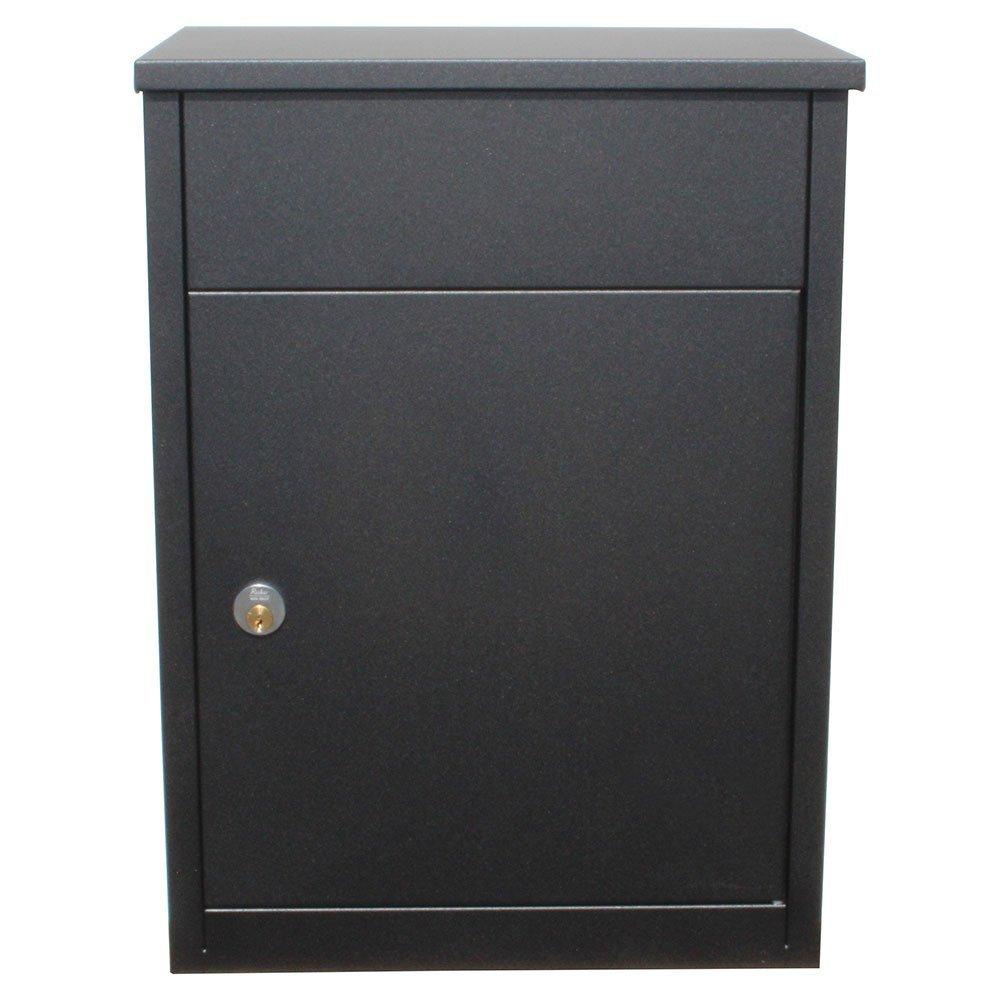 Qualarc ALX-500-BK Allux 500 Wall Mount Locking Galvanized Steel Mail and Parcel Box, Black