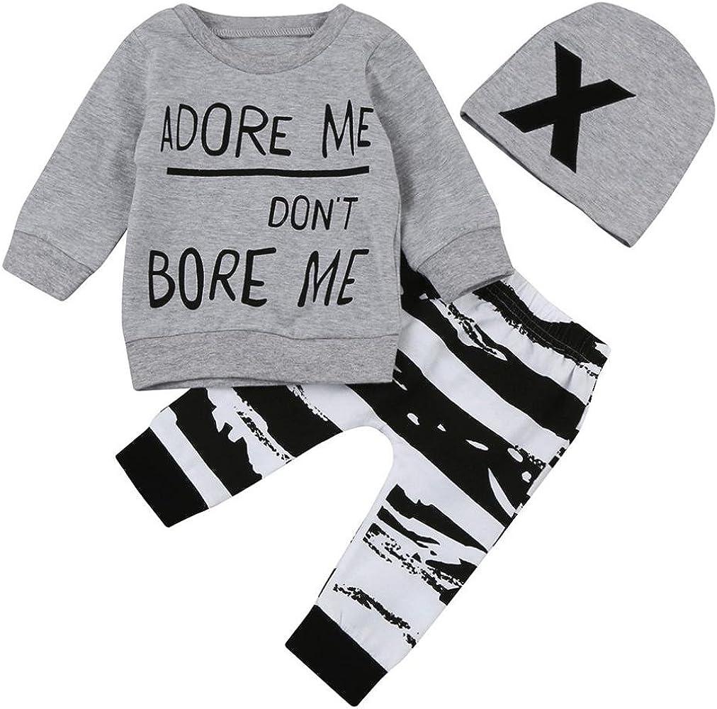 Conjunto Ropa Bebé, Bebés niña niño recién Nacidos Camisetas de Manga Larga + Pantalones + Sombrero Otoño Invierno Ropa 3 Mes - 2 Años (Tamaño:6-12Mes, Gris): Amazon.es: Ropa y accesorios