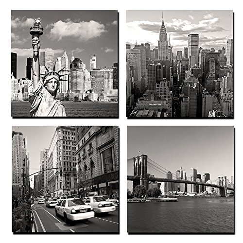 GOUPSKY Canvas Print for Home Decoration 4 Panels New York City Landmark Painting Wall Art Picture Print on Canvas - High Definition Modern Giclee ()