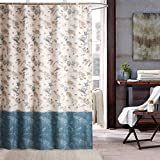 Eforgift Fishes & Starfishes Shower Curtain No Mildews Water Resistant Polyester Machine Washable, Tropical Coastal Creature Design Bathroom Curtains with Metal Grommets, 72' by 72', Blue & White