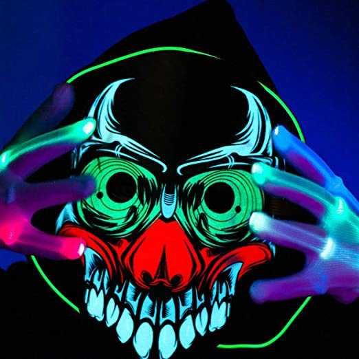SHJNHAN Halloween Scary Cosplay Masks Fancy Cosplay Costume Led Masks