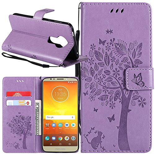 Moto E5 Plus Case, Moto E5 Supra Case, Lacass Cat Tree Pattern PU Leather Flip Wallet Case Cover Kickstand with Card Slots and Wrist Strap for Motorola Moto E5 Plus 2018 - Lavender