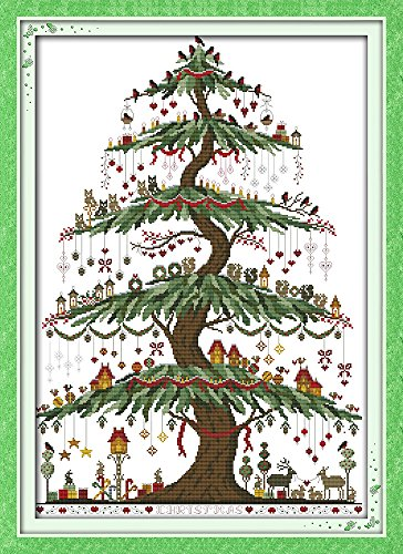 Tree Embroidery Design - Cross stitch kits for Christmas tree - Eafior DIY Handmade Needlework Embroidery Kits Christmas tree pattern printed design Home Decoration Wall Decor 48×66cm(No frame)