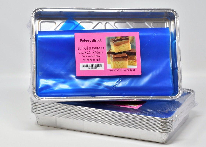 10 bandejas de hornear de aluminio, tamaño grande reciclable (30,5 x 20 cm) + 2 mangas pasteleras desechables de 53 cm gratis: Amazon.es: Hogar