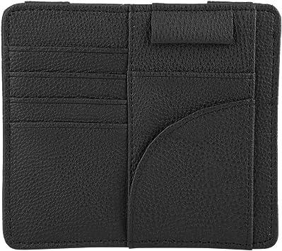 Sun Visor Card Storage Car Sun Visor Card Bill Organizer Glasses Clip PU Leather Multi-functional Storage Bag Black