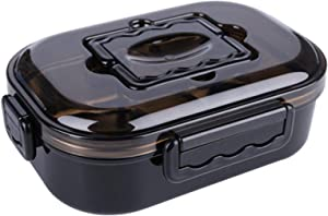 Stainless Steel Lunch Food Bento Box Containers, 2 Compartments Hot Food Lunch Meal Prep Sandwich Japanese Style Bento Containers Box for Kids, Women , Men (Black)