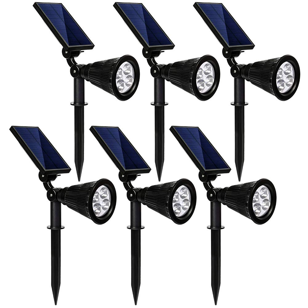 kaizein Solar Spotlights Outdoor, 2-in-1 Waterproof Solar Powered Lights Landscape Lighting Adjustable Wall Light, Solar Lights,Auto On/Off for Yard Garden Driveway Pathway Lawn Pool, 6 Pack (White)