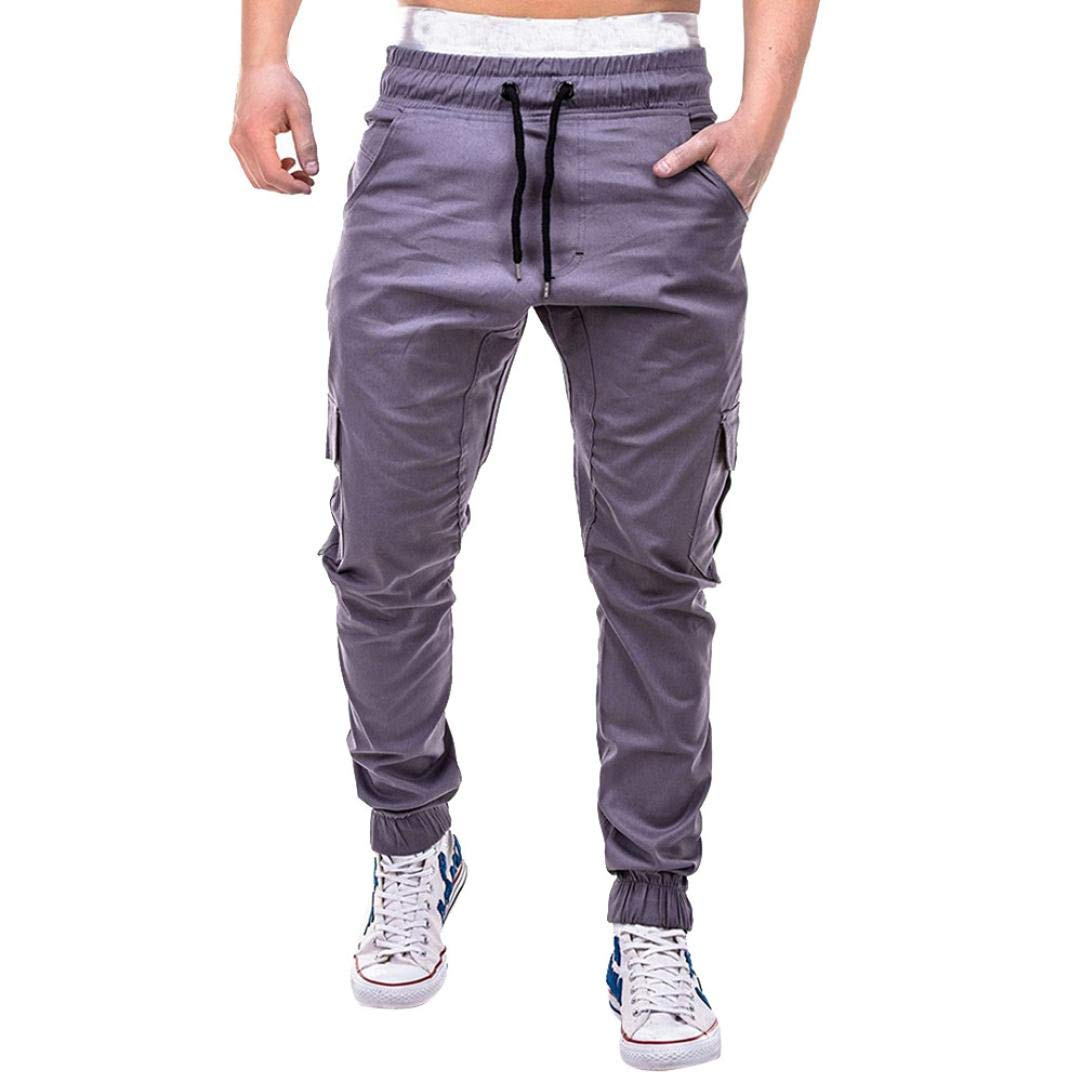Realdo Clearance Fashion Sport Pure Color Bandage Casual Sweatpants Drawstring Cargo Pant Trousers(X-Large,Gray)