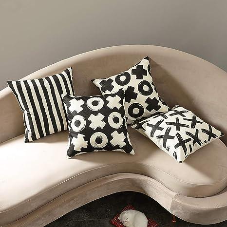 MIULEE Juego de 4 Lino Cojines Circulo y Cruz Funda de Cojín Almohada Caso de Decorativo Cojines para Sala de Estar sofá Cama Coche 18