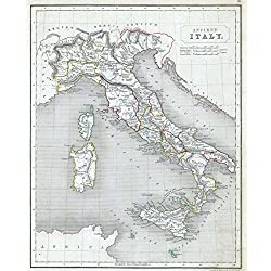 Historical 1845 Chambers Map of Ancient Italy | 24 x 30in Fine Art Print | Antique Vintage Map