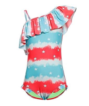 715f3f2e273 BELLOO Kids Girls One Piece Swimsuit Stripe Blue Stars Bathing Suit Ruffle  Swimwear 4-5