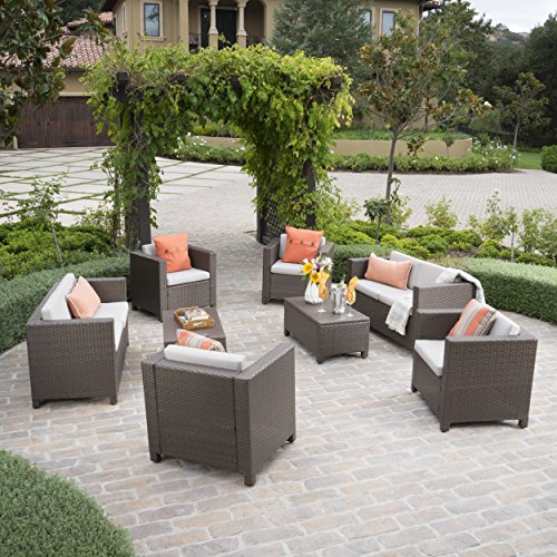 Christopher Knight Home 300462 8 Piece Puerta Outdoor Wicker Chat Set with Water Resistant Cushions, Brown/Ceramic Grey