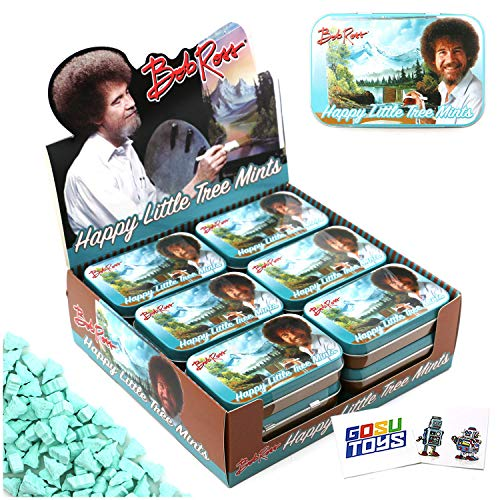 Bob Ross Happy Little Tree Mints Tin Candy (18 Pack Case) Peppermint Flavor Gift Stuffer with 2 GosuToys Stickers
