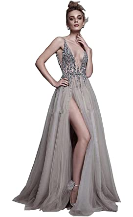 FIGHOUOR Sexy Gray Prom Dresses With Deep V Neck Sequins Tulle and Lace Sex High Split