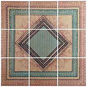 "Modern 9-Piece Green and Brown Geometric Print Mural on Wood, 36"" x 36"""