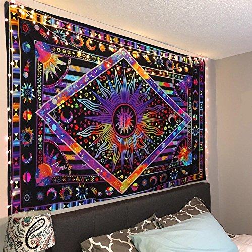 Twin Purple Tie Dye Tapestry Wall Hanging Purple Burning Sun Tapestry Celestial Sun Moon Planet Tapestry Bohemian Tapestry Boho Tapestry Hippie (Moon Celestial Wall)