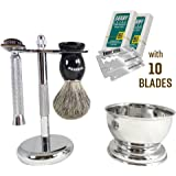 Barbero Shaving Kit with Soap Bowl and 10 Free Blades