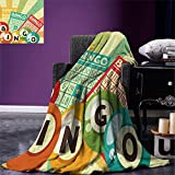 smallbeefly Vintage Digital Printing Blanket Bingo Game with Ball and Cards Pop Art Stylized Lottery Hobby Celebration Theme Summer Quilt Comforter Multicolor