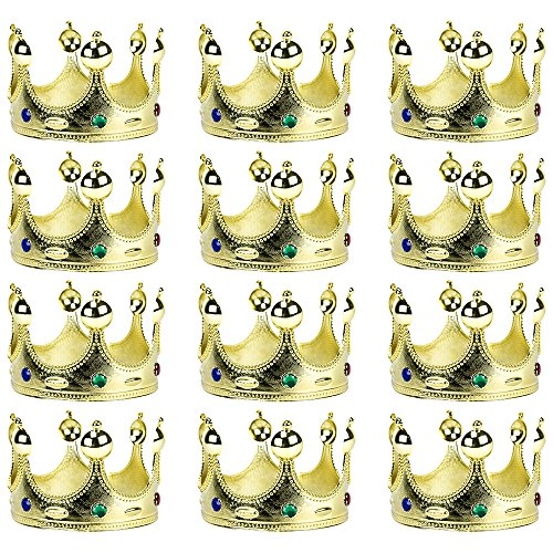 12-Pack Golden King's and Queen's Crown Halloween Costume Accessory - Dress Up Theme Party Roleplay & Cosplay Headwear ()