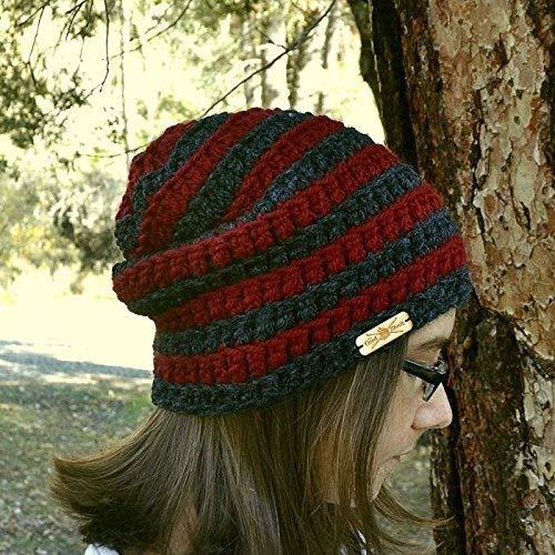 5bf6170195b Amazon.com  Striped Crochet Beanie Hat Slouchy Winter Cap Small  Handmade