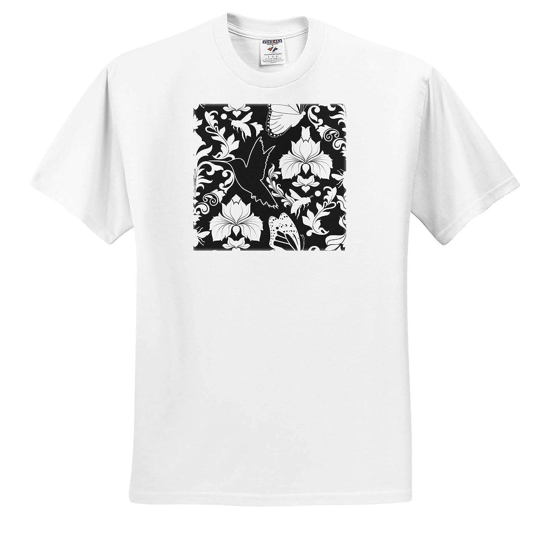 Adult T-Shirt XL 3dRose Janna Salak Designs Prints and Patterns ts/_310733 Garden Damask Black and White