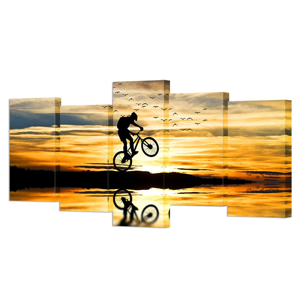 Amazon.com: VVOVV Wall Decor - Mountain Bike Racing Canvas Wall Art ...
