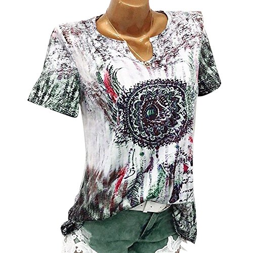 - TnaIolral Women Blouse Windbell Print V-Neck Short Sleeve Pullover Tops Shirt Green