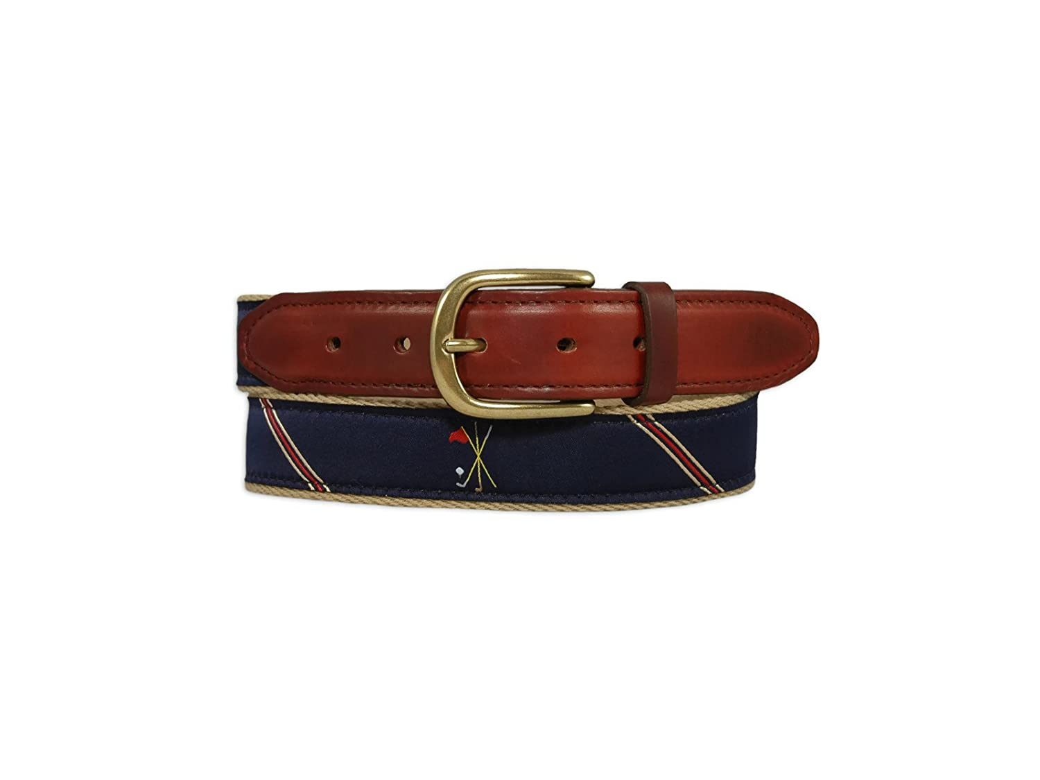 YRI Crossed Clubs Ribbon Belt on Surcingle Backing With Horween Chromexcel Leather Tab