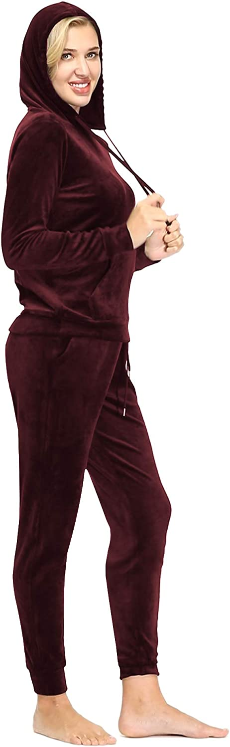 Dolcevida Womens Active Solid Velour Tracksuit Zip up Hoodie /& Pullover Sweatshirts and Sweat Pant Sweatsuit