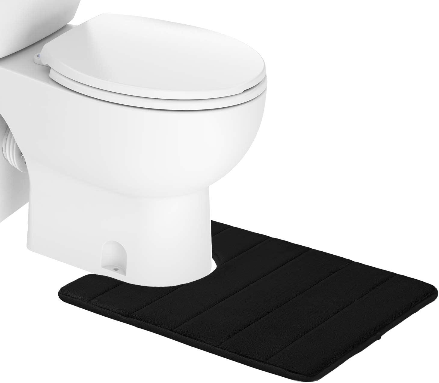 Colorxy Memory Foam Bath Mat - Soft & Absorbent Bathroom Toilet Bath Rugs U-Shaped Non Slip Commode Contour Rug, 20