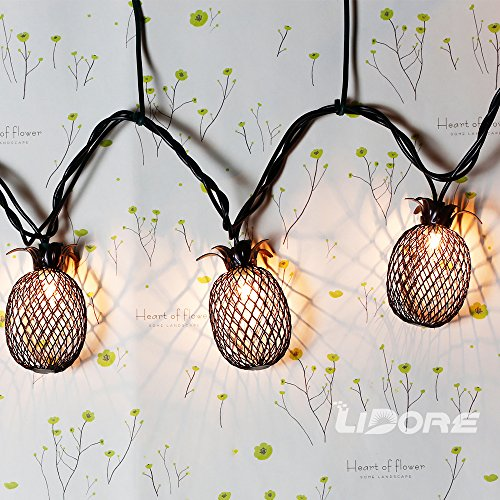 LIDORE Set of 10 Metal Pineapple Shaped Lanterns String Lights. Best For Indoor/Outdoor ...