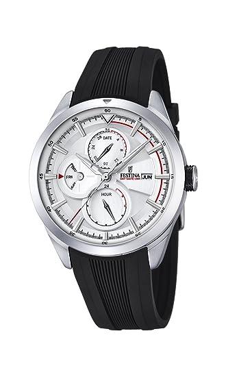 Reloj para Hombre, con Mecanismo de Cuarzo, Esfera Blanca, Pantalla analógica y Correa de Goma Color Negro: Festina: Amazon.es: Relojes