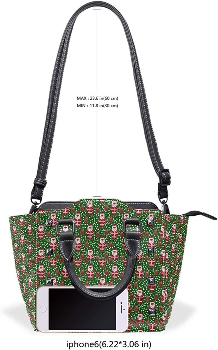 Santa Claus In The Green Area Women Top Handle Satchel Handbags Shoulder Bag Tote Purse Messenger Bags
