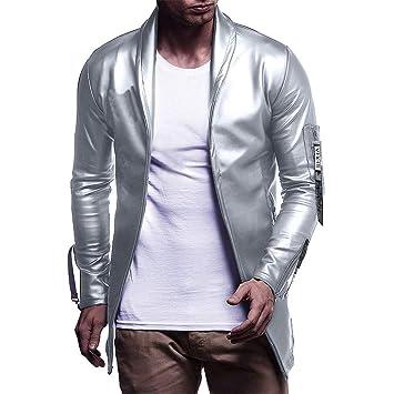 Hombre y niños Chaqueta moda Tela reflectante,Sonnena ⚽ hombre casual chaqueta de manga larga color puro chaqueta moda estilo cremallera chaqueta al aire ...