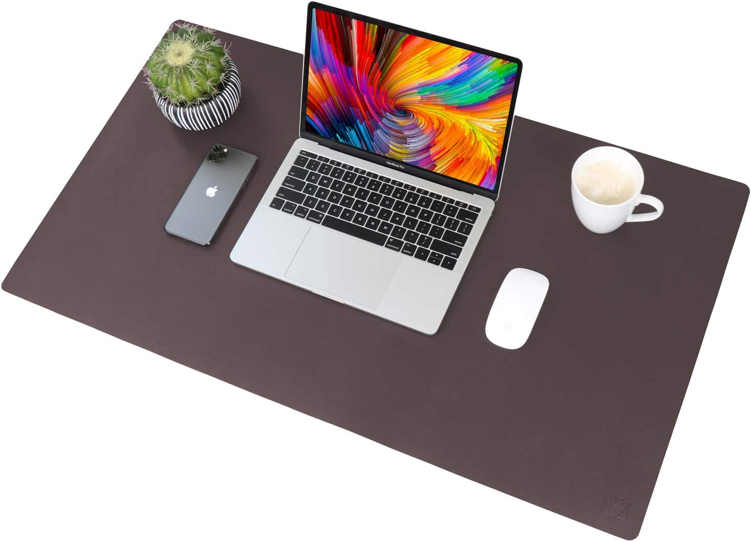 """Leather Desk Pad 31.5""""x 15.7"""", VineCreations Office Desk Mat Blotter Waterproof Brown - Premium Quality - Smooth Mouse Writing Surface - Maximum Protection for Desk Office/Home"""