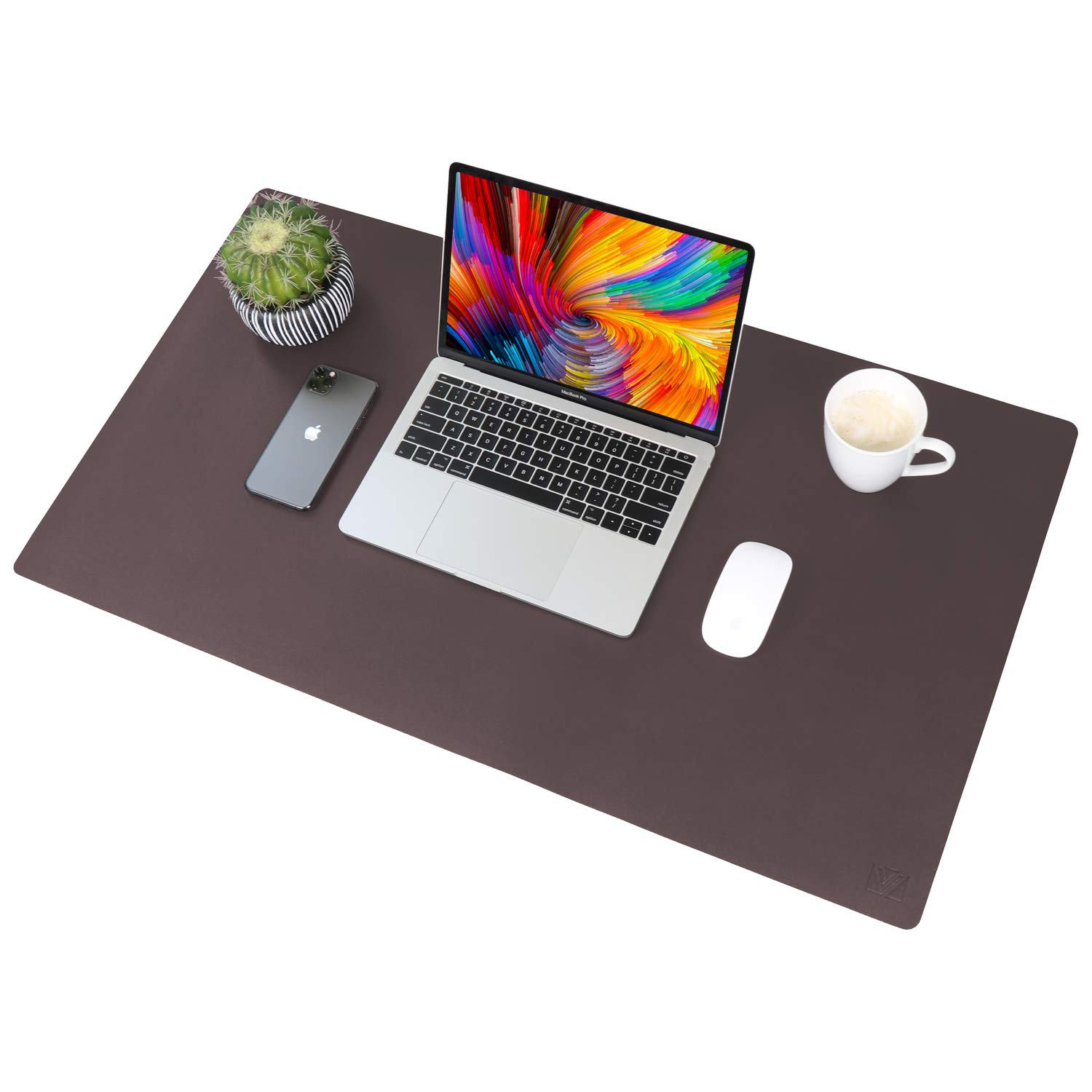 """Leather Desk Pad 36""""x 20"""", VineCreations Office Desk Mat Blotter Waterproof Brown - Premium Quality - Smooth Mouse Writing Surface - Maximum Protection for Desk Office/Home"""