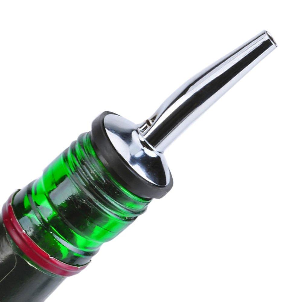 Versatore Bottiglia per Liquore in Acciaio Inox con Ugello Conico da 8 Pezzi con Tappi in Gomma Plastica Commestibile