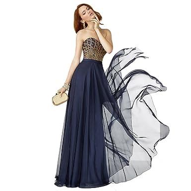 Alyce Paris Strapless Chiffon Gown Gold/Midnight - 12