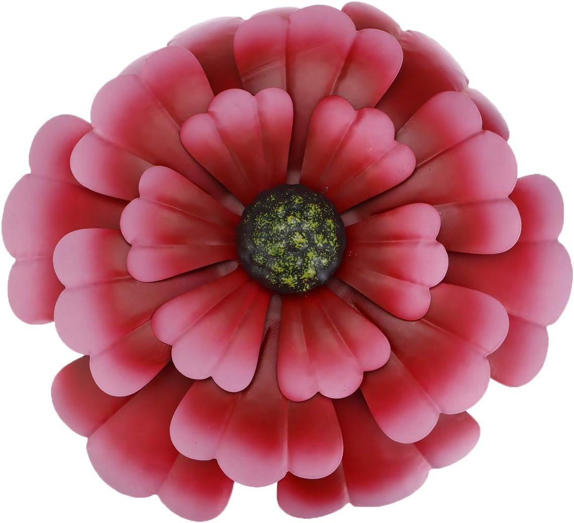 "Wall Metal Flowers Decor 11.8"" Metal Flower for Wall, Wall Art Flower Decor for Bedroom,Living Room,Office,Garden (Red)"