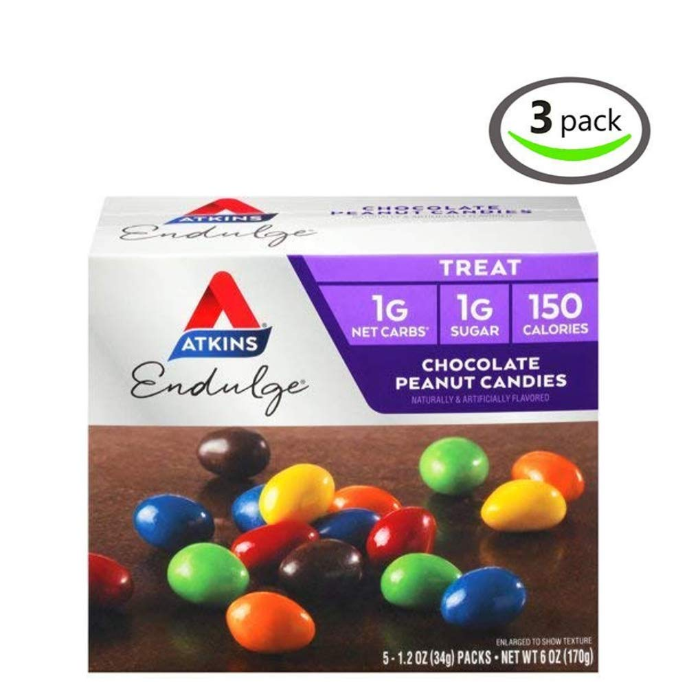 Atkins Endulge Treat, Chocolate Peanut Candies, Keto Friendly, 1.2 ounce, 5 ct - Pack of 3 by Atkins