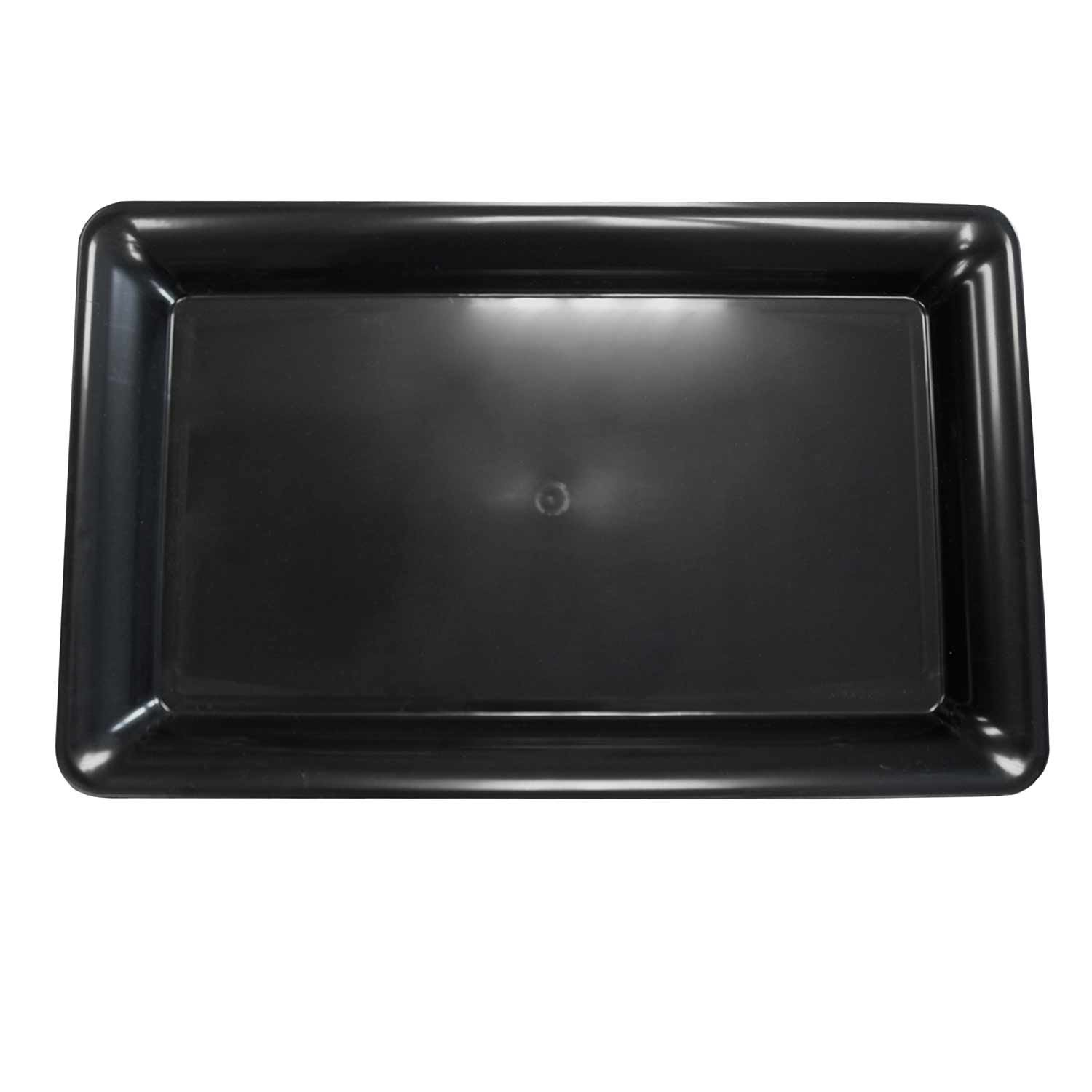 Party Essentials Heavy Duty Plastic Rectangular Tray, 12'' Length x 18'' Width, Black (Case of 6)