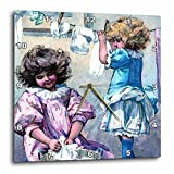 3dRose dpp_34787_1 Little Girls on Laundry Day-Wall Clock, 10 by 10-Inch For Sale