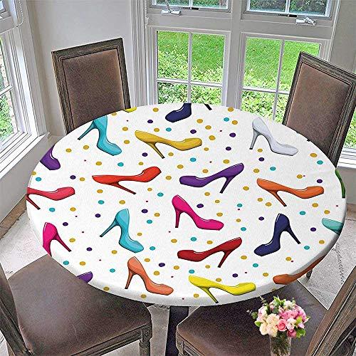 Elasticized Table Cover Decor of Women Shoes Stilettos Vector Image with Dot Background Artwork Multicolor Machine Washable 55